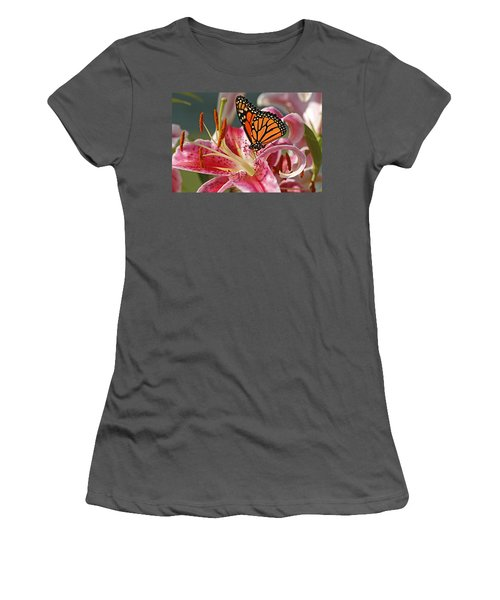 Monarch On A Stargazer Lily Women's T-Shirt (Athletic Fit)