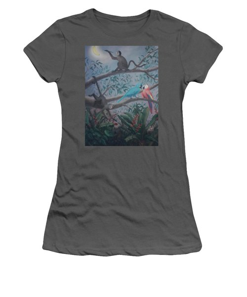 Monkey Artist Painting The Moon  Women's T-Shirt (Athletic Fit)