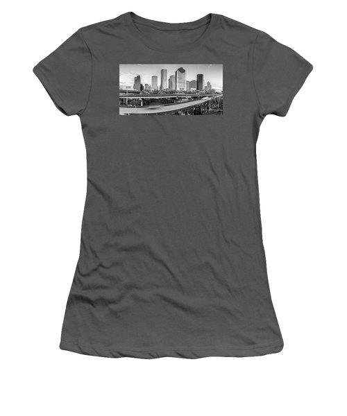 Monochrome Panorama Of Downtown Houston Skyline From Buffalo Bayou Park - Harris County Houston Texa Women's T-Shirt (Athletic Fit)