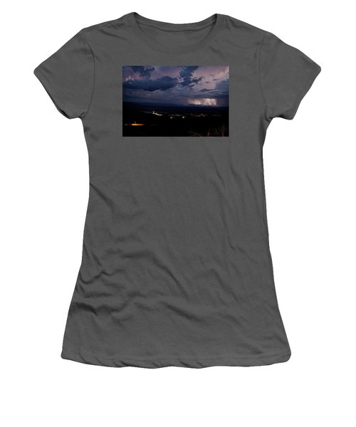 Monsoon Lightning Over Sedona From Jerome Az Women's T-Shirt (Junior Cut) by Ron Chilston