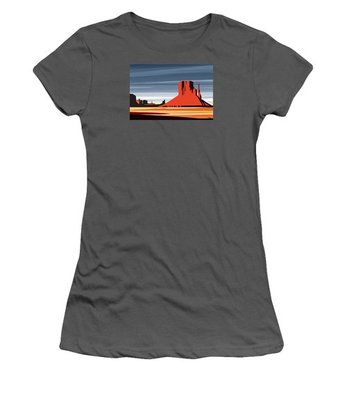 Monument Valley Sunset Digital Realism Women's T-Shirt (Athletic Fit)