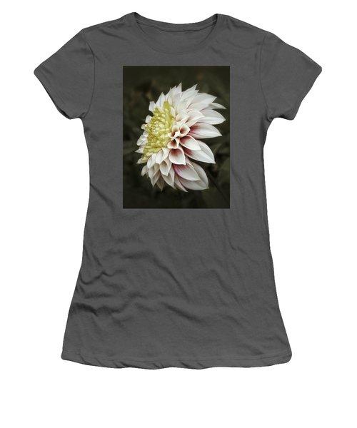 Women's T-Shirt (Junior Cut) featuring the photograph Moody Dahlia  by Karen Stahlros