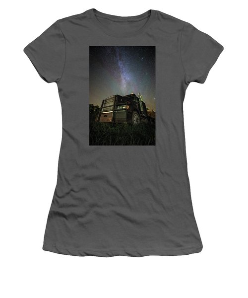 Women's T-Shirt (Athletic Fit) featuring the photograph Moody Trucking by Aaron J Groen
