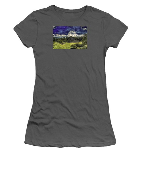 Moon Over Mayan Temple Two Women's T-Shirt (Athletic Fit)