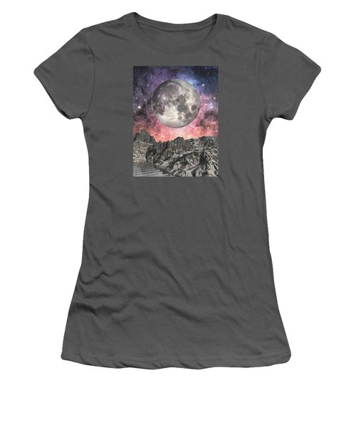 Women's T-Shirt (Junior Cut) featuring the digital art Moon Over Mountain Lake by Phil Perkins
