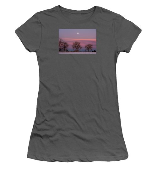Moon Over Pink Llouds Women's T-Shirt (Athletic Fit)