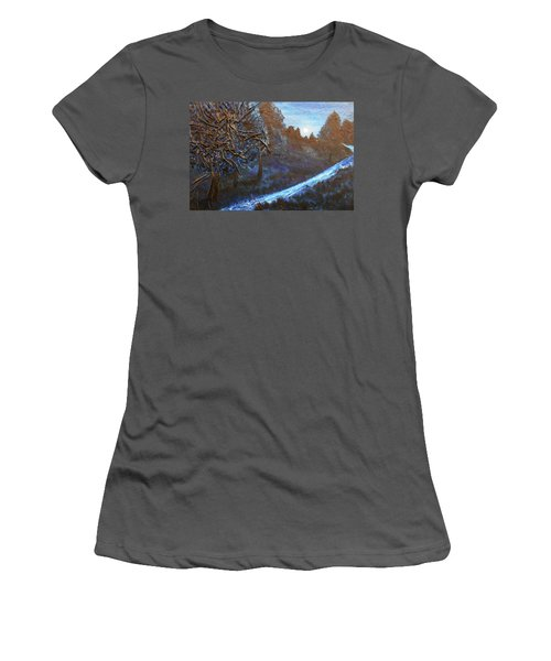 Women's T-Shirt (Junior Cut) featuring the mixed media Moon Rise  by Angela Stout