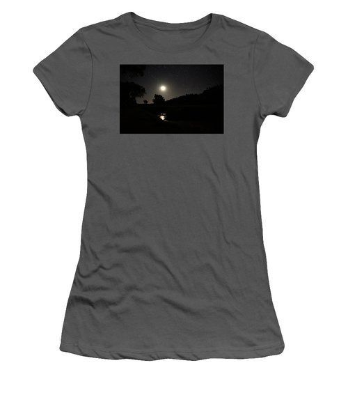 Moon Set Over Palm Valley 2 Women's T-Shirt (Athletic Fit)