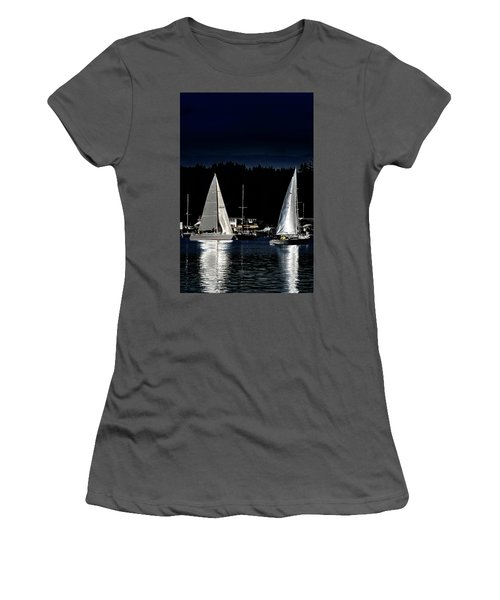 Women's T-Shirt (Athletic Fit) featuring the photograph Moonlight Sailing by David Patterson