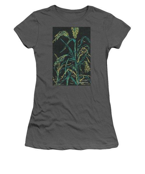 Women's T-Shirt (Junior Cut) featuring the mixed media Moonlight Wheat by Vicki  Housel