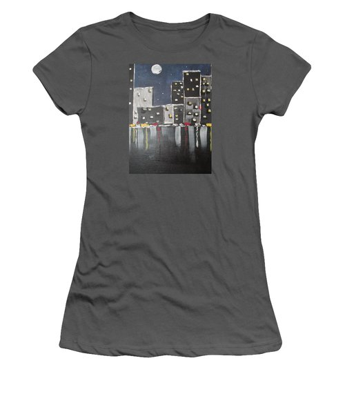Women's T-Shirt (Junior Cut) featuring the painting Moonlighters by Sharyn Winters