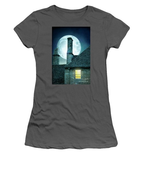 Moonlit Rooftops And Window Light  Women's T-Shirt (Athletic Fit)
