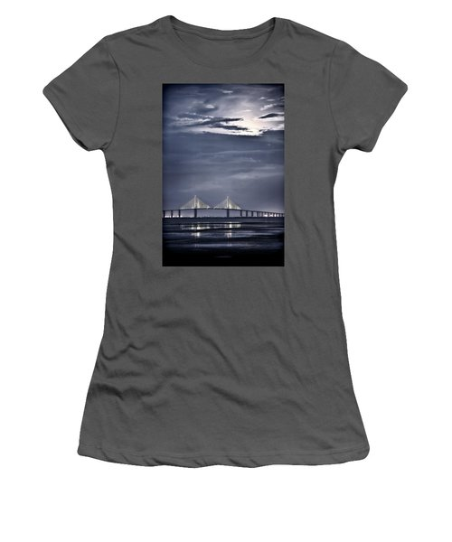 Moonrise Over Sunshine Skyway Bridge Women's T-Shirt (Athletic Fit)