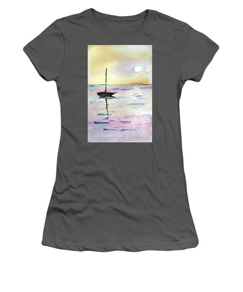 Moored Sailboat Women's T-Shirt (Junior Cut) by R Kyllo