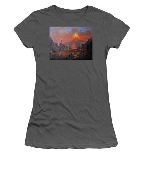 Mordor Land Of Shadow Women's T-Shirt (Junior Cut) by Joe Gilronan