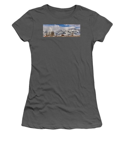 Women's T-Shirt (Junior Cut) featuring the photograph Mormon Row Early Winter Panorama by Adam Jewell