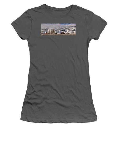 Women's T-Shirt (Junior Cut) featuring the photograph Mormon Row Winter Panorama by Adam Jewell