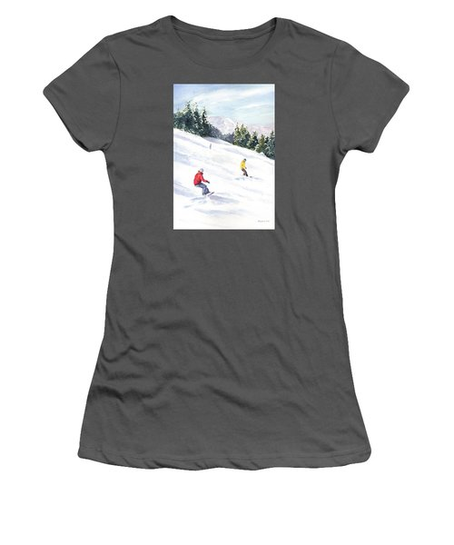 Women's T-Shirt (Junior Cut) featuring the painting Morning On The Mountain by Vikki Bouffard