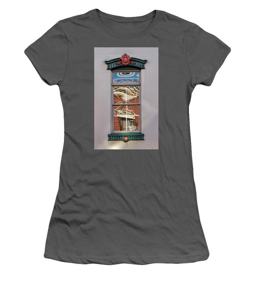 Women's T-Shirt (Athletic Fit) featuring the photograph Morning Reflection In Window by Gary Slawsky