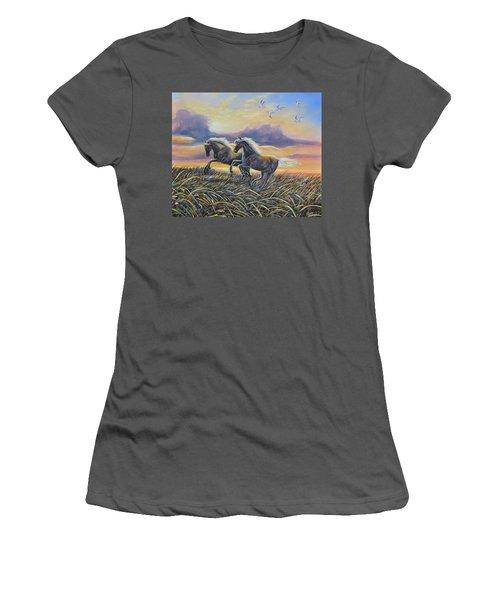Morning Run Women's T-Shirt (Junior Cut) by Gail Butler