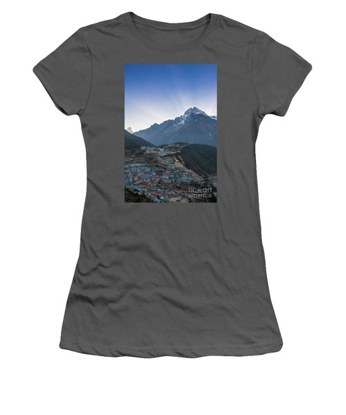 Women's T-Shirt (Junior Cut) featuring the photograph Morning Sunrays Namche by Mike Reid