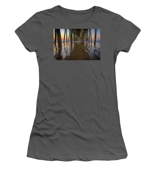 Women's T-Shirt (Athletic Fit) featuring the photograph Morning Under The Pier, Old Orchard Beach by Rick Berk