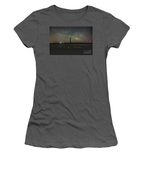 Morris Island Light House Milky Way Women's T-Shirt (Junior Cut) by Robert Loe