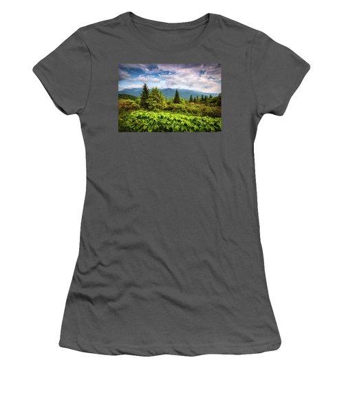 Mount Mitchell Asheville Nc Blue Ridge Parkway Mountains Landscape Women's T-Shirt (Athletic Fit)