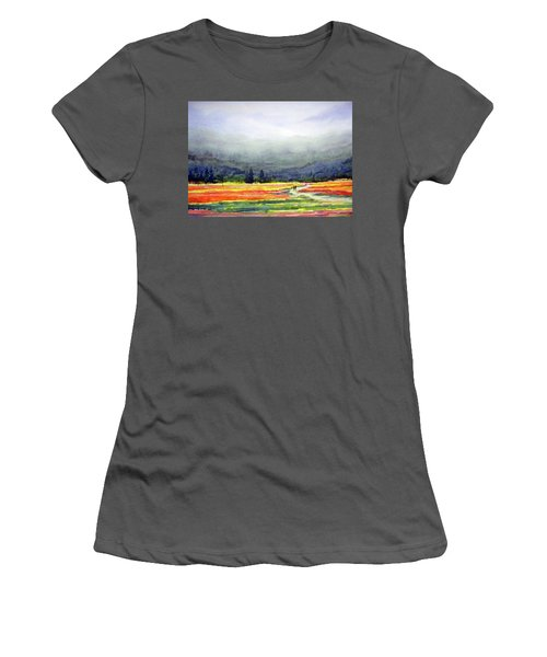 Women's T-Shirt (Junior Cut) featuring the painting Mountain Flowers Valley by Samiran Sarkar