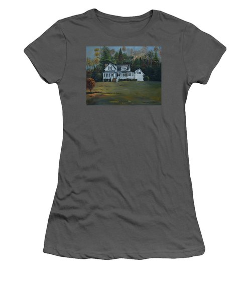 Women's T-Shirt (Athletic Fit) featuring the painting  Mountain Home At Dusk by Jan Dappen