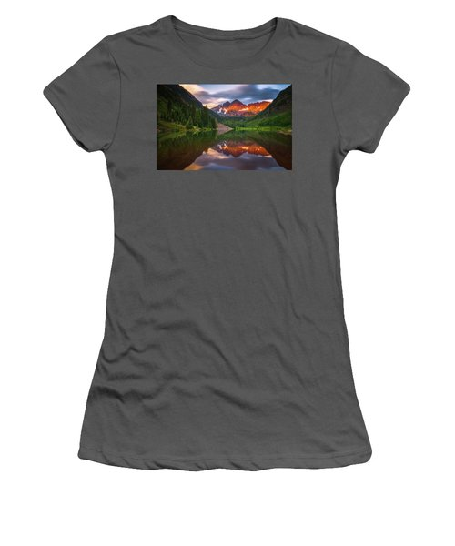 Women's T-Shirt (Athletic Fit) featuring the photograph Mountain Light Sunrise by Darren White