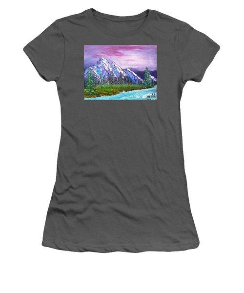 Mountain Meadow Landscape Scene Women's T-Shirt (Athletic Fit)