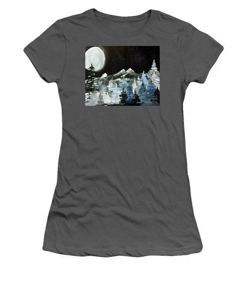 Mountain Winter Night Women's T-Shirt (Junior Cut) by Tom Riggs