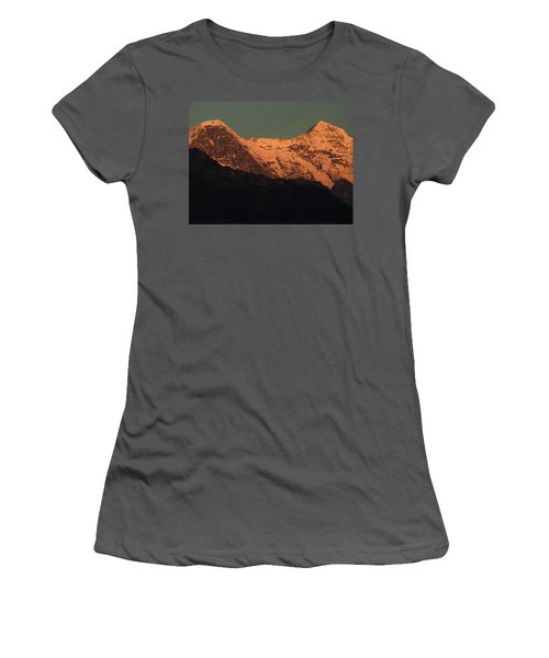 Mt. Eiger And Mt. Moench At Sunset Women's T-Shirt (Junior Cut) by Ernst Dittmar