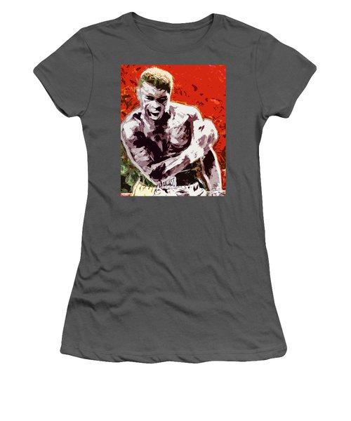 Muhammed Ali Boxing Champ Digital Paintng Women's T-Shirt (Junior Cut) by David Haskett