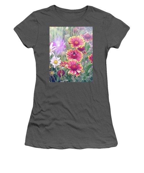Multi Coloured Flowers With Bee Women's T-Shirt (Junior Cut) by Lynn Bolt