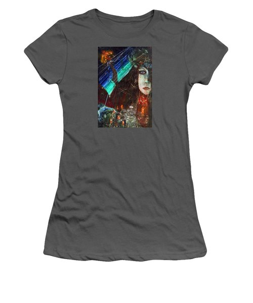 Mushroom Girl Women's T-Shirt (Junior Cut) by Mikhail Savchenko