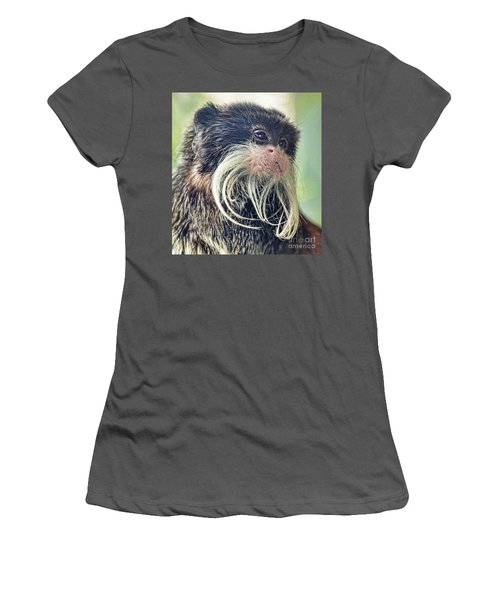 Mustache Monkey Watching His Friends At Play Women's T-Shirt (Athletic Fit)