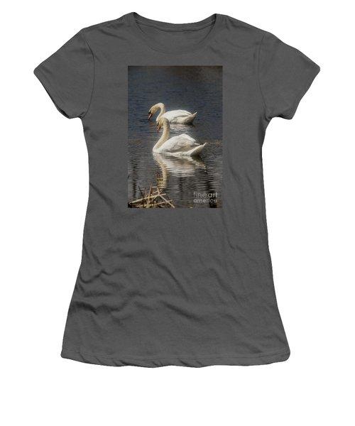 Women's T-Shirt (Junior Cut) featuring the photograph Mute Swans by David Bearden