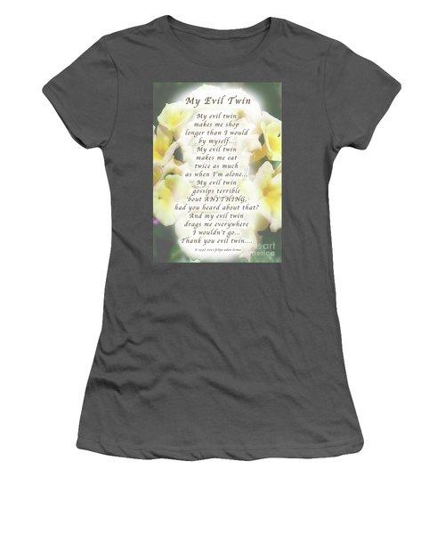 My Evil Twin Greeting Card And Poster Women's T-Shirt (Junior Cut) by Felipe Adan Lerma