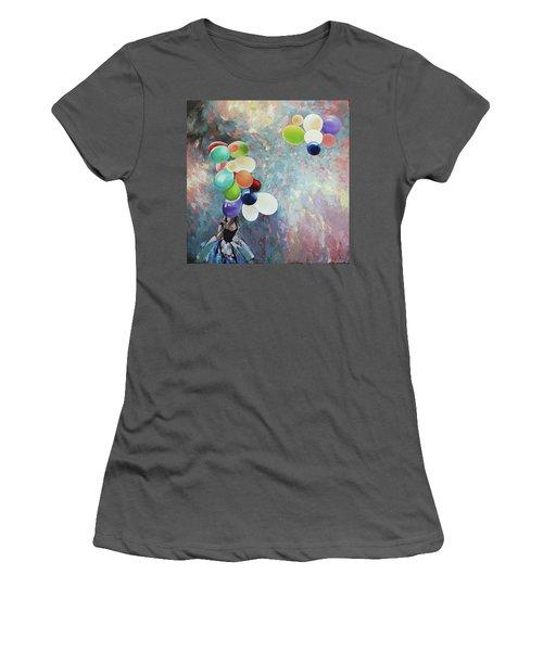 Women's T-Shirt (Junior Cut) featuring the painting My Friend The Wind. by Anastasija Kraineva