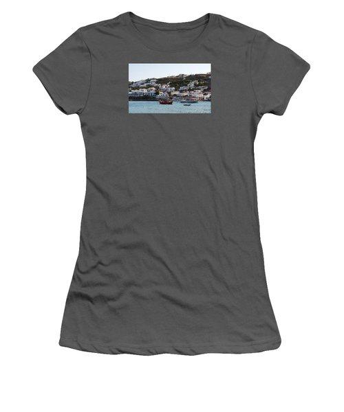 Mykonos Fishing Boats Women's T-Shirt (Junior Cut) by Robert Moss