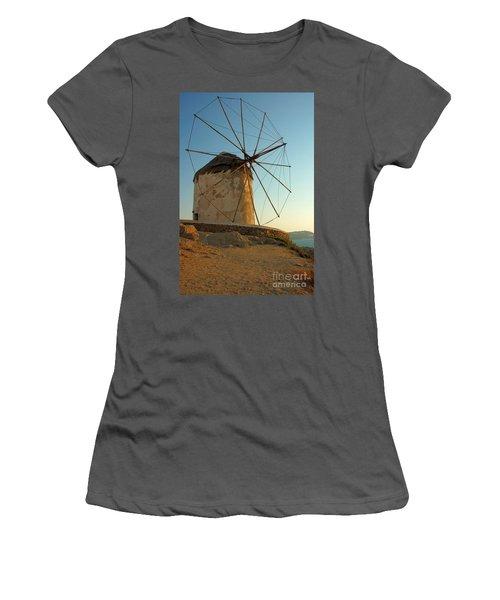 Mykonos Windmill  Women's T-Shirt (Athletic Fit)