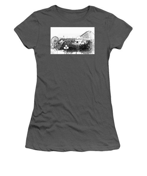 Myrtle Beach Pavillion Amusement Park Monotone Women's T-Shirt (Junior Cut) by Bob Pardue