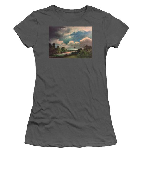 Women's T-Shirt (Junior Cut) featuring the painting Mystery Of God  The Eye Of God by Randol Burns