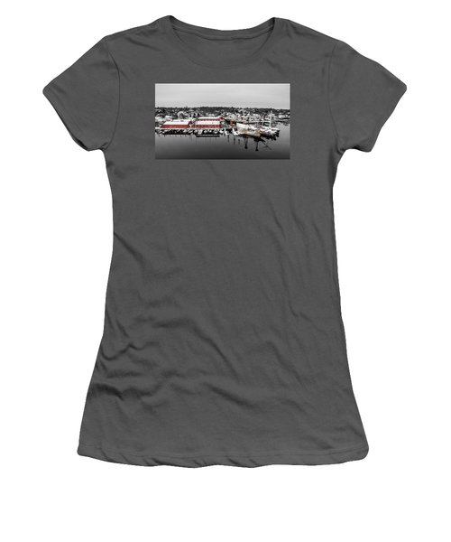 Women's T-Shirt (Junior Cut) featuring the photograph Mystic Seaport In Winter by Petr Hejl