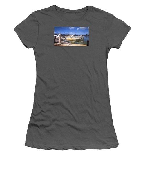 Naples Dock Women's T-Shirt (Junior Cut) by Rena Trepanier