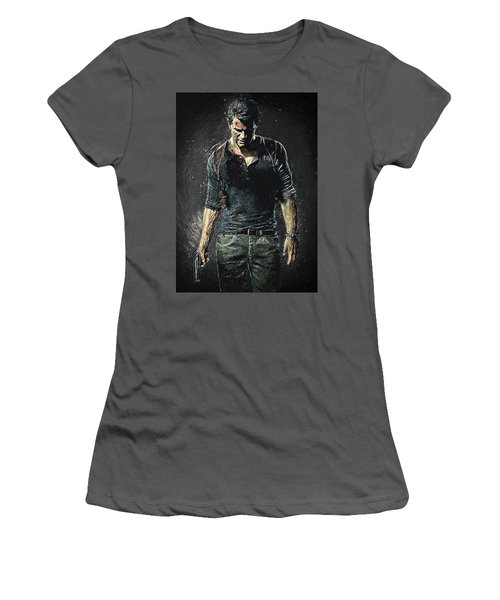 Women's T-Shirt (Athletic Fit) featuring the digital art Nathan Drake - Uncharted by Taylan Apukovska