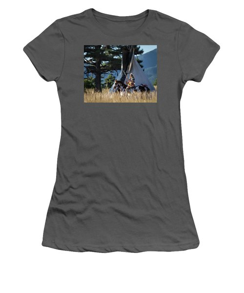 Native American In Full Headdress In Front Of Teepee Women's T-Shirt (Junior Cut) by Nadja Rider