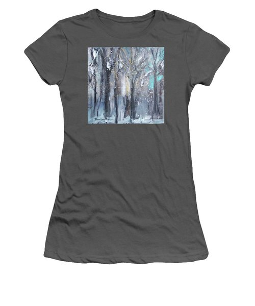Women's T-Shirt (Athletic Fit) featuring the painting Nature's Cathedral by Robin Maria Pedrero